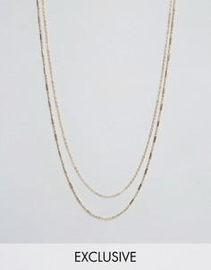 Золотистое ожерелье с двумя цепочками DesignB - Золотой
