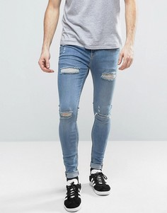 Обтягивающие джинсы скинни с потертостями Brooklyn Supply Co - Синий