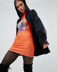 Облегающее платье с высоким воротом и принтом Jaded London X Granted - Оранжевый