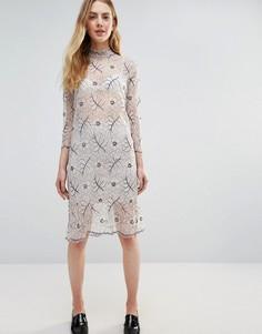 Кружевное полупрозрачное платье с длинными рукавами Ganni California - Белый