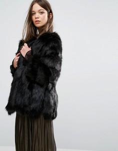 Куртка из искусственного меха с полосатой отделкой Jayley Luxurious - Черный