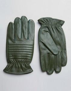 Кожаные перчатки цвета хаки в байкерском стиле Barneys - Зеленый Barneys Originals