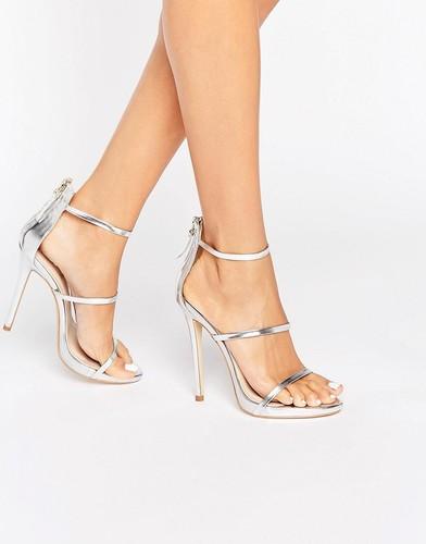 Серебристые сандалии на каблуке с ремешками Public Desire Aisha - Серебряный