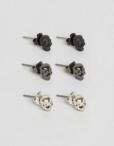 Набор из 3 сережек-гвоздиков с дизайном черепа Icon Brand - Мульти