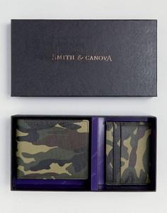 Кожаный бумажник и визитница с камуфляжным принтом в подарочном наборе Smith And Canova - Зеленый