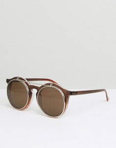 Круглые солнцезащитные очки с поднимающимися стеклами Jeepers Peepers - Коричневый