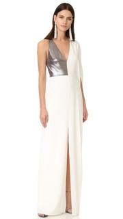 Вечернее платье с асимметричным глубоким v-образным вырезом Halston Heritage