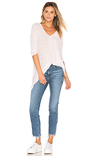 Cotton slub v-neck dolman long sleeve tee - Bobi