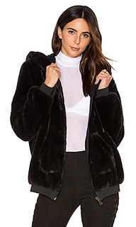 Fur zip up faux fur hoodie - KENDALL + KYLIE
