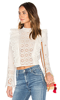 Exploded eyelet ruffle top - Sea