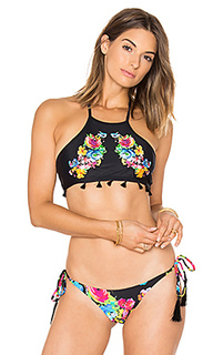 Embroidered tassel bikini top - PILYQ