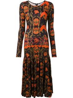 длинное платье с узором и плиссировкой Preen By Thornton Bregazzi