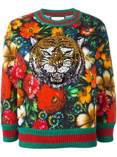 толстовка с тигром из пайеток Gucci