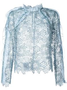 полупрозрачная кружевная блузка Self-Portrait