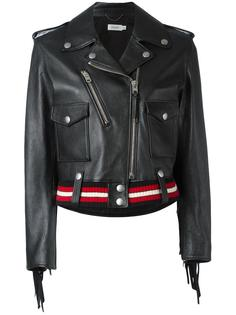 striped detail biker jacket Coach