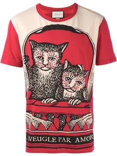 футболка с принтом котов Gucci