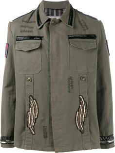 куртка в военном стиле с нашивками с бисером Etro