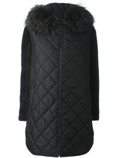 пальто с меховой отделкой  Yves Salomon