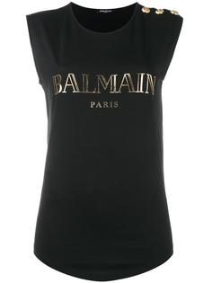 топ в военном стиле с логотипом Balmain