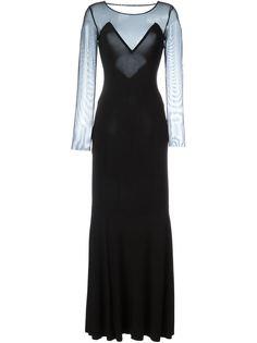 вечернее платье с прозрачными рукавами Norma Kamali