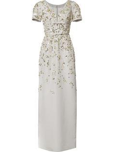 длинное платье с вышивкой и рукавами-кап Carolina Herrera