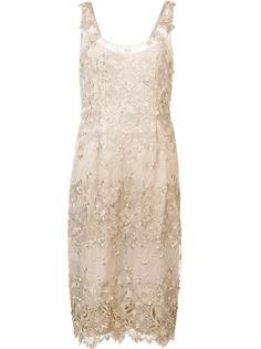 платье миди с цветочной аппликацией Marchesa Notte