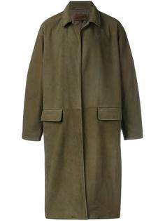 кожаное пальто средней длины Yeezy
