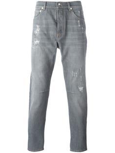 джинсы с рваными деталями Brunello Cucinelli