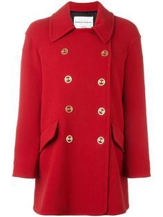 двубортное пальто с логотипом на пуговицах Sonia Rykiel