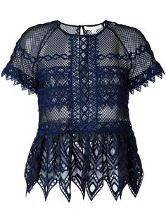 cut-off detailing sheer blouse Jonathan Simkhai