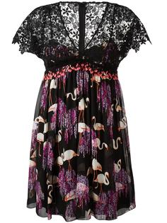 flamingos print pleated dress  Giamba