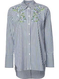 полосатая рубашка с цветочной вышивкой Adam Lippes