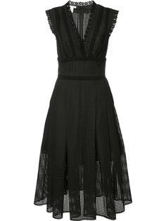 расклешенное платье с плиссировкой Oscar de la Renta