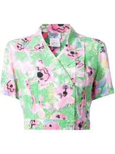 double breasted floral shirt Chanel Vintage