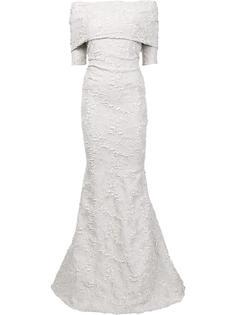 жаккардовое вечернее платье с открытыми плечами Carolina Herrera