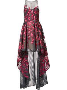 платье с цветочным украашением Marchesa Notte