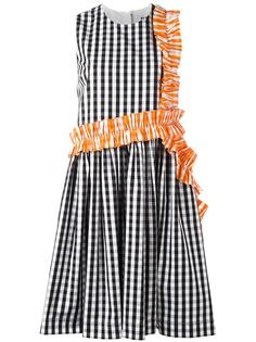 клетчатое платье с отделкой рюшами MSGM