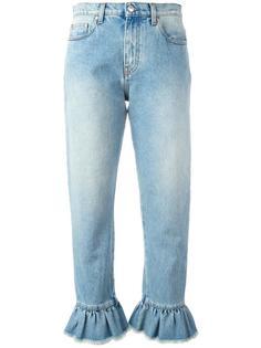 укороченные джинсы с отделкой оборками MSGM
