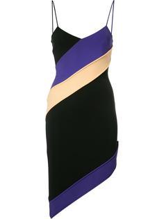 асимметричное платье с диагональную полоску David Koma
