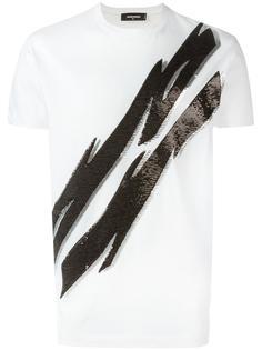 футболка со стразами Dsquared2