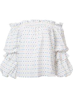 polka dots off-shoulders blouse Caroline Constas