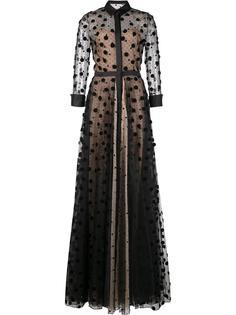 прозрачное вечернее платье в горох Carolina Herrera