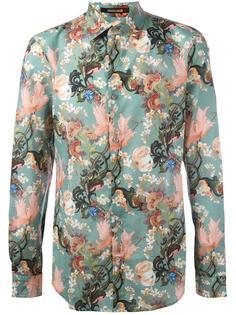 рубашка с азиатским принтом Roberto Cavalli