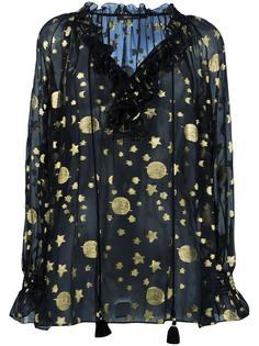 прозрачная блузка с золотистым принтом Roberto Cavalli