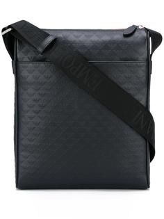 сумка-мессенджер с тисненым логотипом Emporio Armani