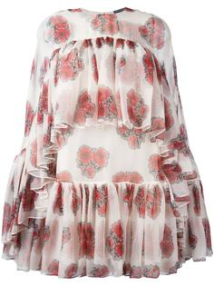 poppy print cape dress Alexander McQueen