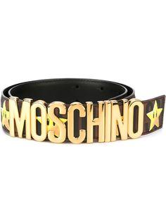 ремень с логотипом и звездами Moschino