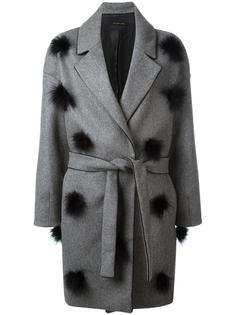 пальто с поясом и помпонами Mother