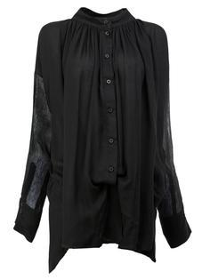 блузка на пуговицах со складками у горловины Ann Demeulemeester