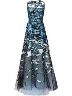 вечернее платье с абстрактным принтом Carolina Herrera